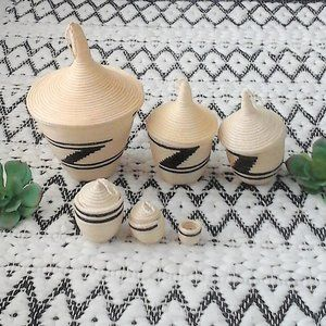 Aztec Stackable Baskets With Lids Set Of 6